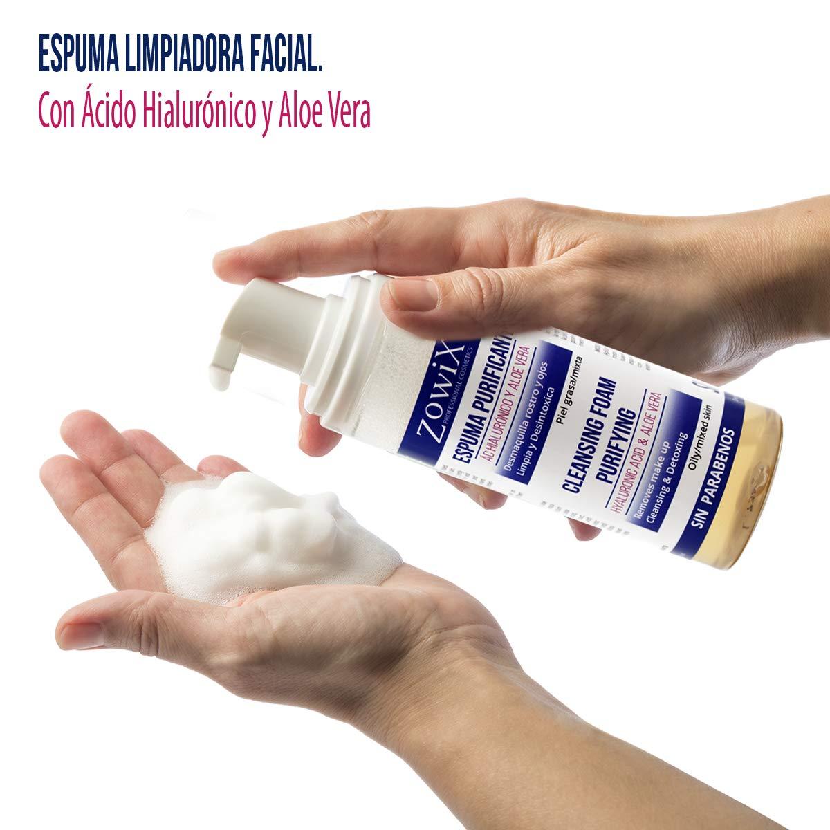 Zowix Desmaquillante ojos, cara y cuello. Limpiador facial en espuma para pieles MUY Grasas. Jabón Natural en mousse con Acido Hialuronico. Sin parabenos.