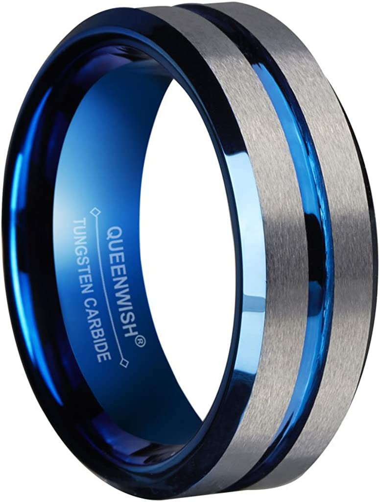 QUEENWISH 8mm Blue Tungsten Wedding Bands Silver Brushed Engagement Couples Promise Rings Comfort Fit