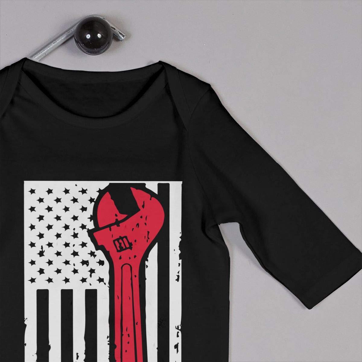 LBJQ8 Mechanic USA American Flag Baby Boy Girl Long Sleeve Bodysuit Romper Jumpsuit