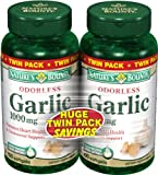 Nature's Bounty Garlic 1000mg Odorless Softgels Twin Pack, 200 Count