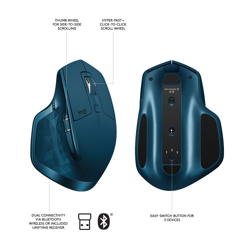 910-005137 Logitech/® MX Master 2S Wireless Mouse Midnight Teal