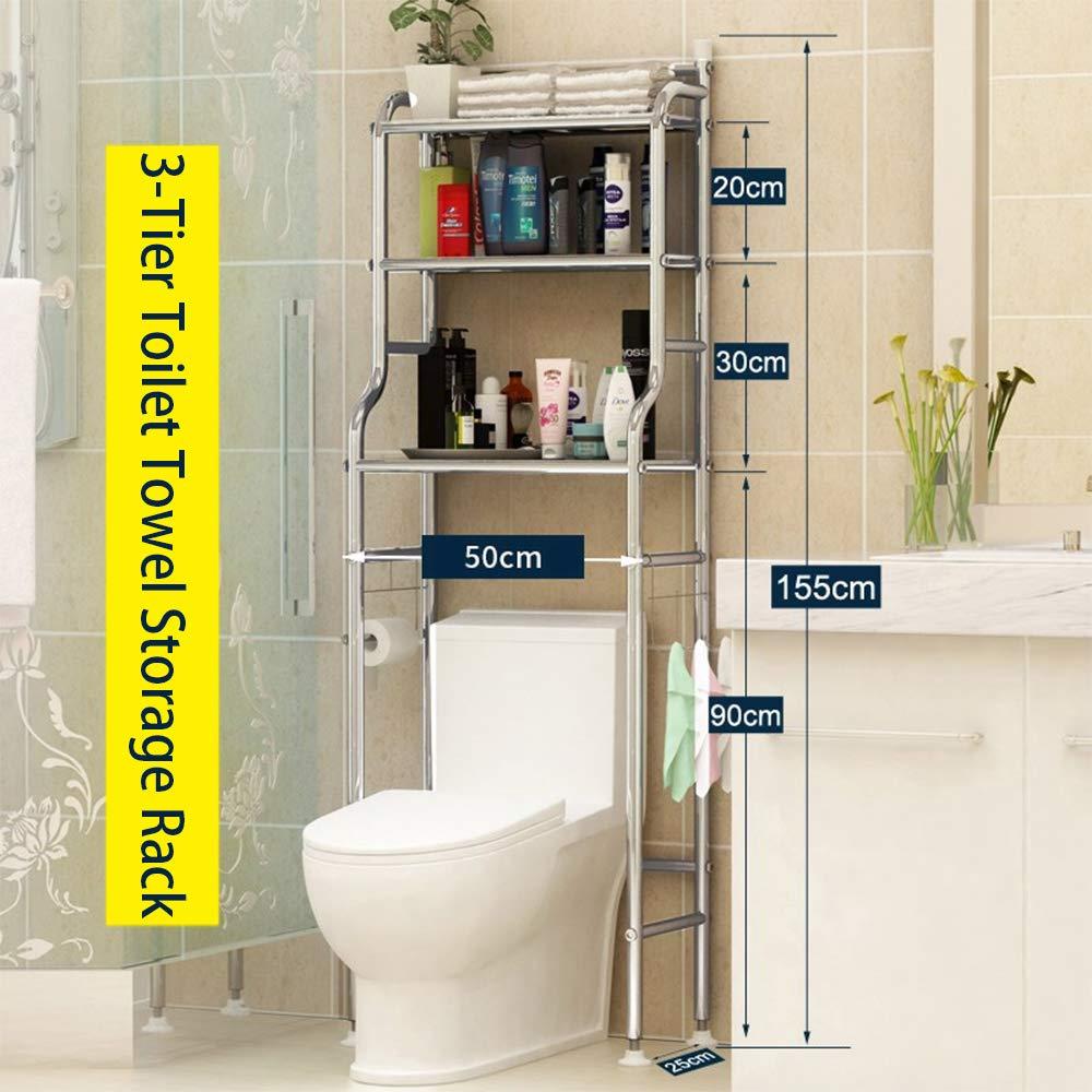 Yaotop Shelf Bathroom Space Saver,3-Tier Toilet Towel Storage Rack Holder Over The Bathroom Toilet Shelf Organizer,18.8'' X 18.8'' X 65.3'',(Stainless steel)