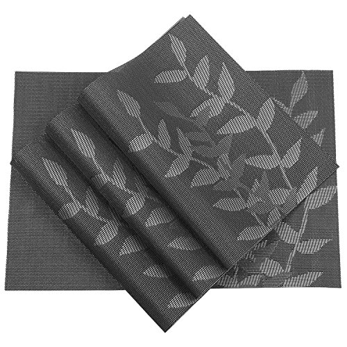 PAUWER Placemats Set of 6 Woven Vinyl Placemat for Kitchen Table Heat Resistant Non-slip Kitchen Table Place Mats Washable Easy to Clean (6, Floral Black)