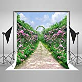 YCNET Photography Backdrops Green Column Backdrop Floral Road For Weddings Photo Shoot 5ftX6.5ft