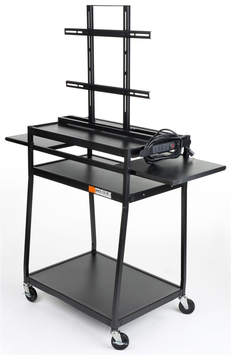 Displays2go Audio Visual Cart with Universal TV Mount and Dual Side Trays, 4 Wheels and 4 Outlet Surge Protector, Black/Steel (LMCBRC2SE5) by Displays2go