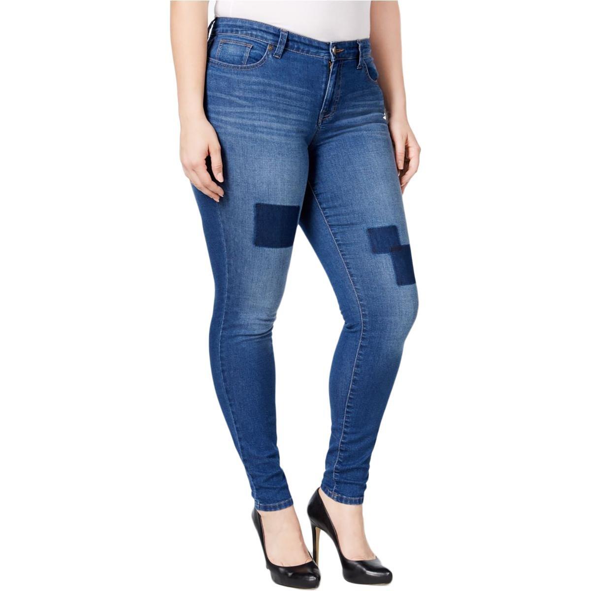 Style & Co. Womens Plus Fiji Slimming Denim Straight Leg Jeans Blue 24W