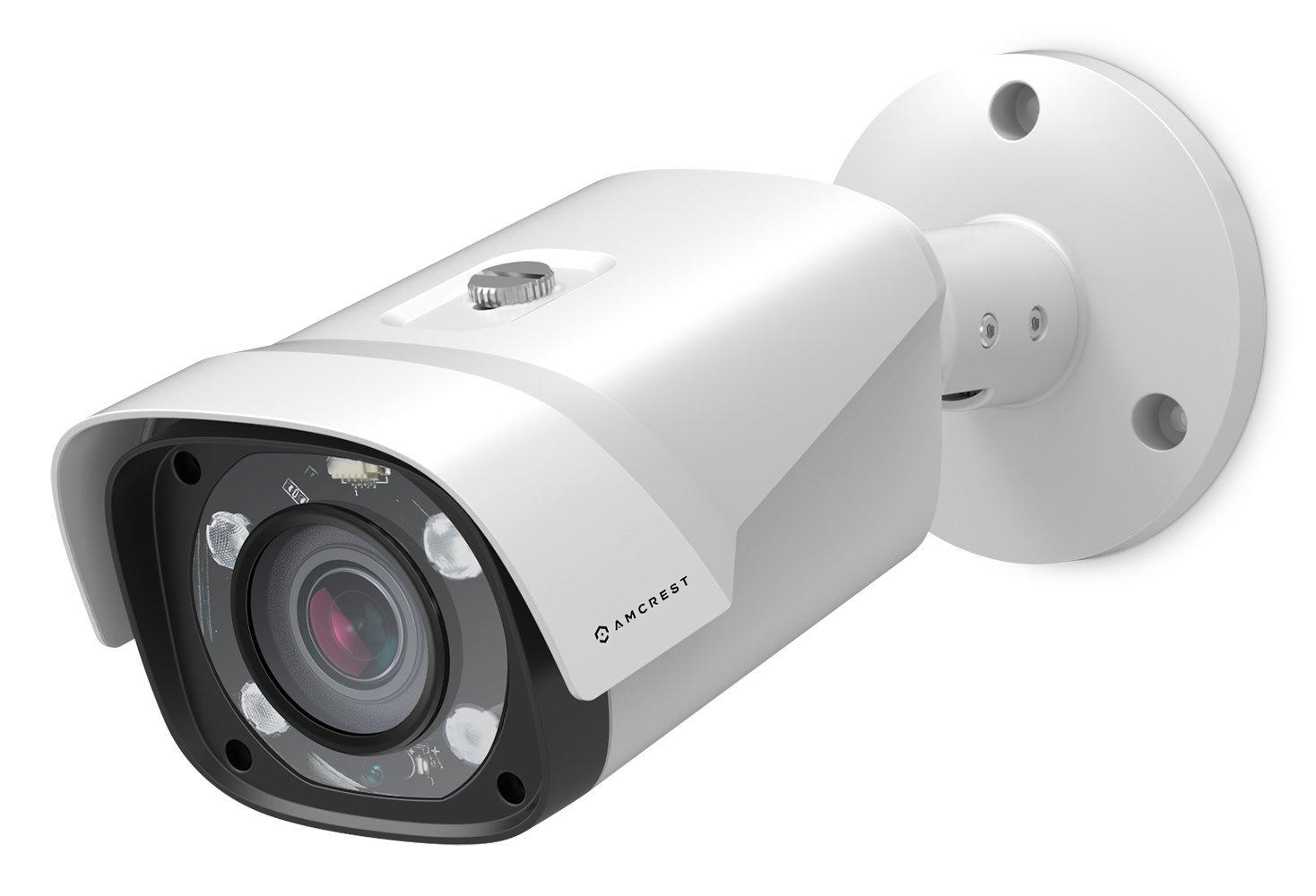 Amcrest UltraHD 4MP POE Bullet IP Security Camera, 2688x1520, 197ft NightVision, MicroSD Storage, Motorized Varifocal Lens 55°-104°, 5x Optical Zoom, White (IP4M-1054EW)