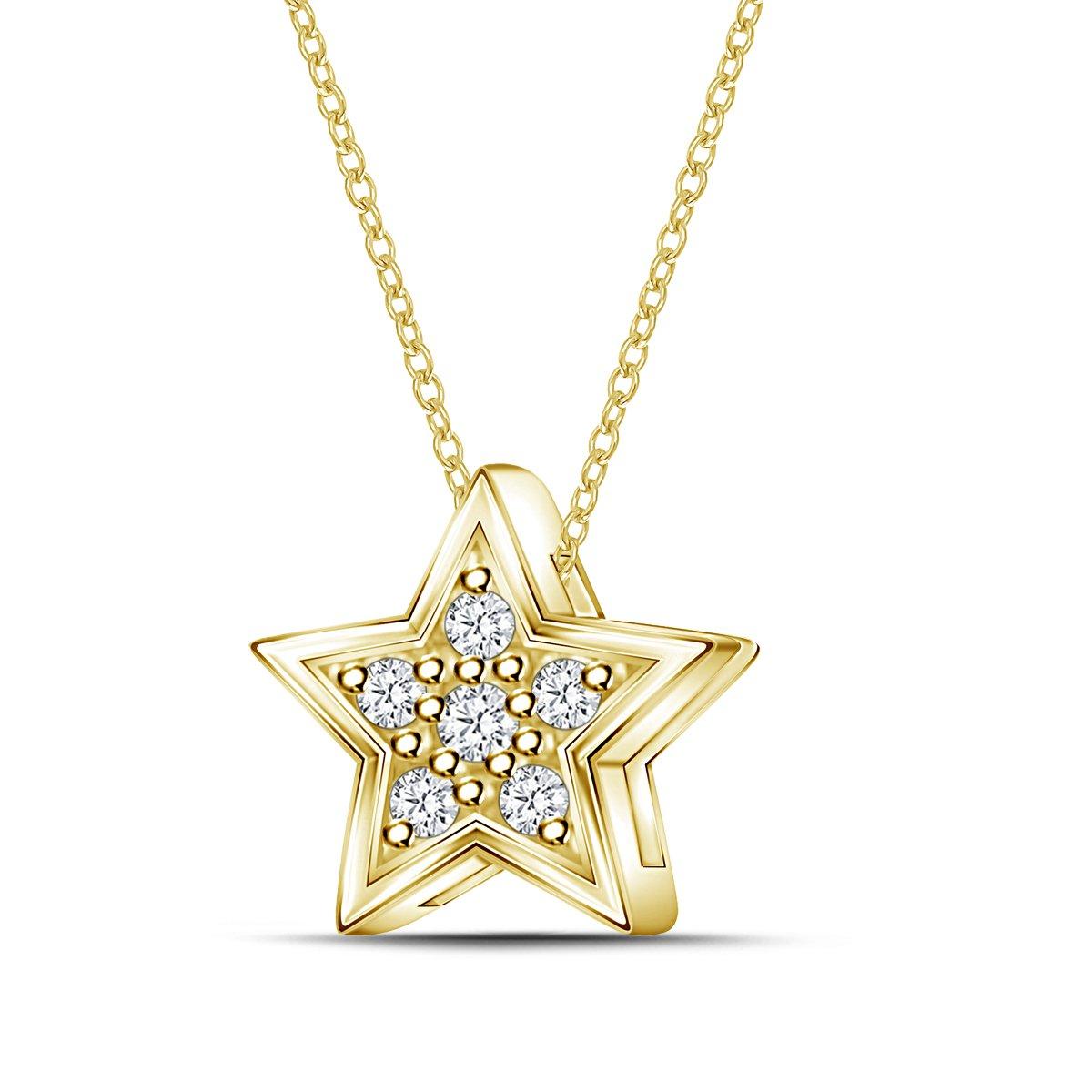 0.04cttw, IJ, I2-I3 18 925 Silver Mini Star Shape Diamond Pendant Necklace