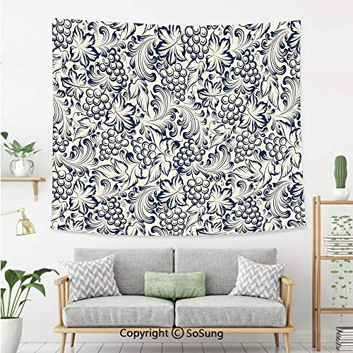 SoSung Kitchen Decor Wall Tapestry,Vintage Style Grapes Vineyard Orchads Pattern Invitation Card Design Retro Image Sketch,Bedroom Living Room Dorm Wall Hanging,60X50 Inches,Grey -