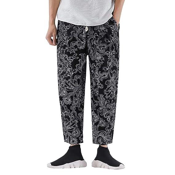 Goddessvan Mens Casual Cotton Linen Pants Basic Floral ...