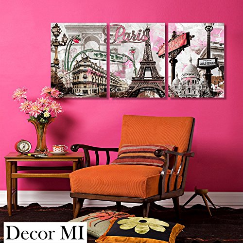 Paris Panel Bed - Decor Mi Modern Wall Art Pink Paris Eiffel Towel Decor Romantic City Paintings Poster Prints On Canvas Framed For Living Room 12x16 inch 3 Panels
