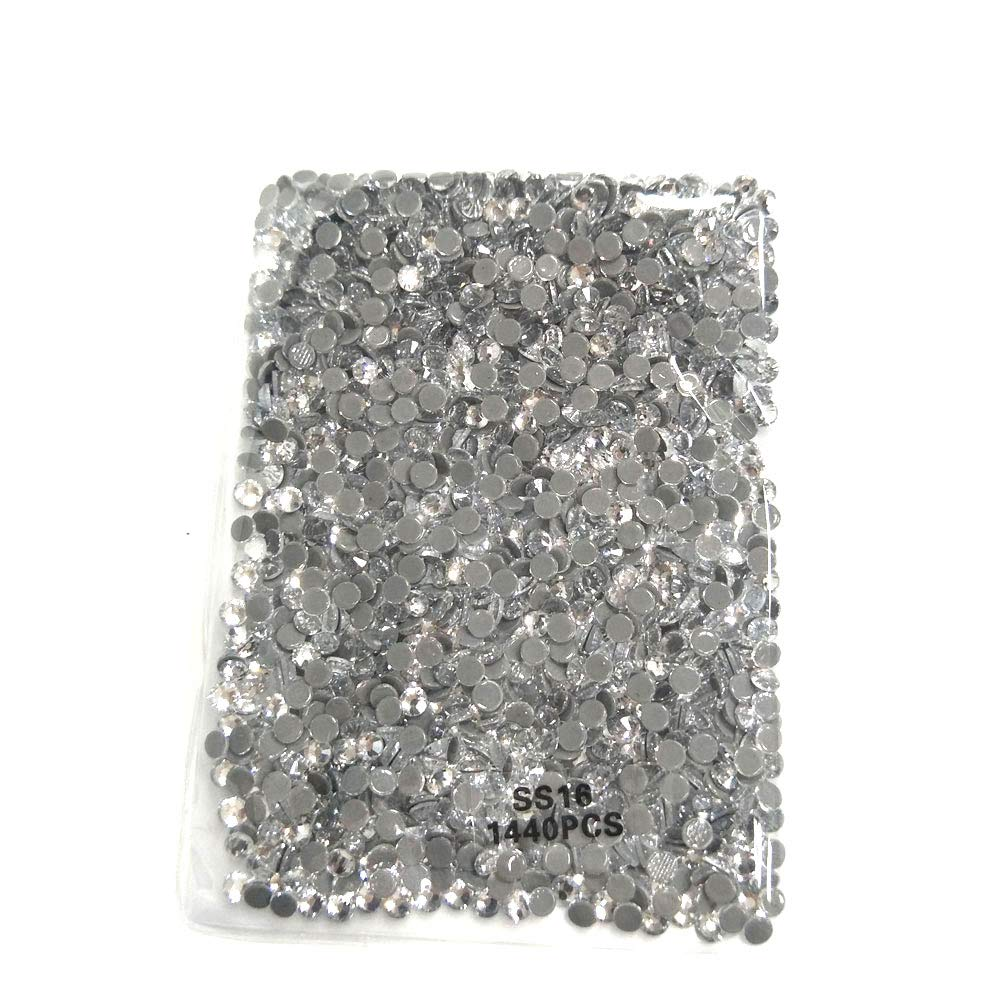 Queenme 1440pcs Clear SS20 Hotfix Rhinestones 20SS Flatback Crystals for Clothes Shoes Crafts Hot Fix 5MM Round Glass Gems Stones Flat Back Iron on Rhinestones for Clothing