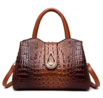 77dc1da77408 Yan Show Women's Handbag Split Leather Tote Crocodile Pattern Top Handle  Purse Large Shoulder Bag (Dark Brown)
