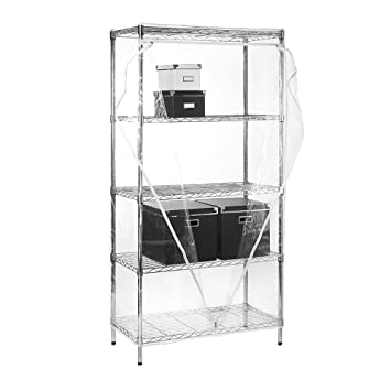 Chrome Wire Shelving Unit with Cover H1800 x W1200 x D450 mm Clear Cover 3 Shelves /& 1 Clothes Rail Wardrobe Storage