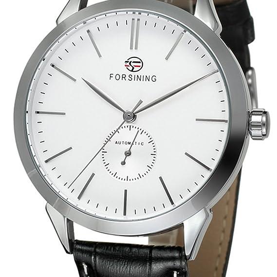 Los hombres de moda reloj de pulsera lujo Automático Mecánico relojes piel banda: Amazon.es: Relojes