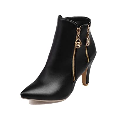 Women's Ankle-High Zipper Soft Material High-Heels Pointed Closed Toe Boots