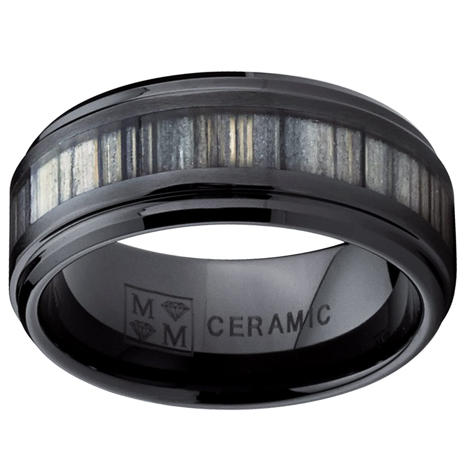 Black Ceramic Wedding Band Ring with Real Zebra Wood Inlay, 9MM ...