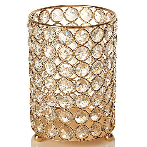 VINCIGANT Mothers Day Gold Crystal Votive Candle Holders Centerpeices with Warm White String Light for Wedding Table,Housewarming Decor Gifts