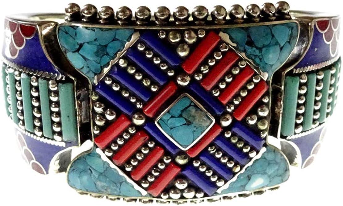 Pulsera tibetana hermosamente hecha a mano por artesanos, piedras preciosas de color turquesa, coral y lapislázuli plateado oxidado diseñador Boho pulsera de puño antiguo étnico para mujeres hombres