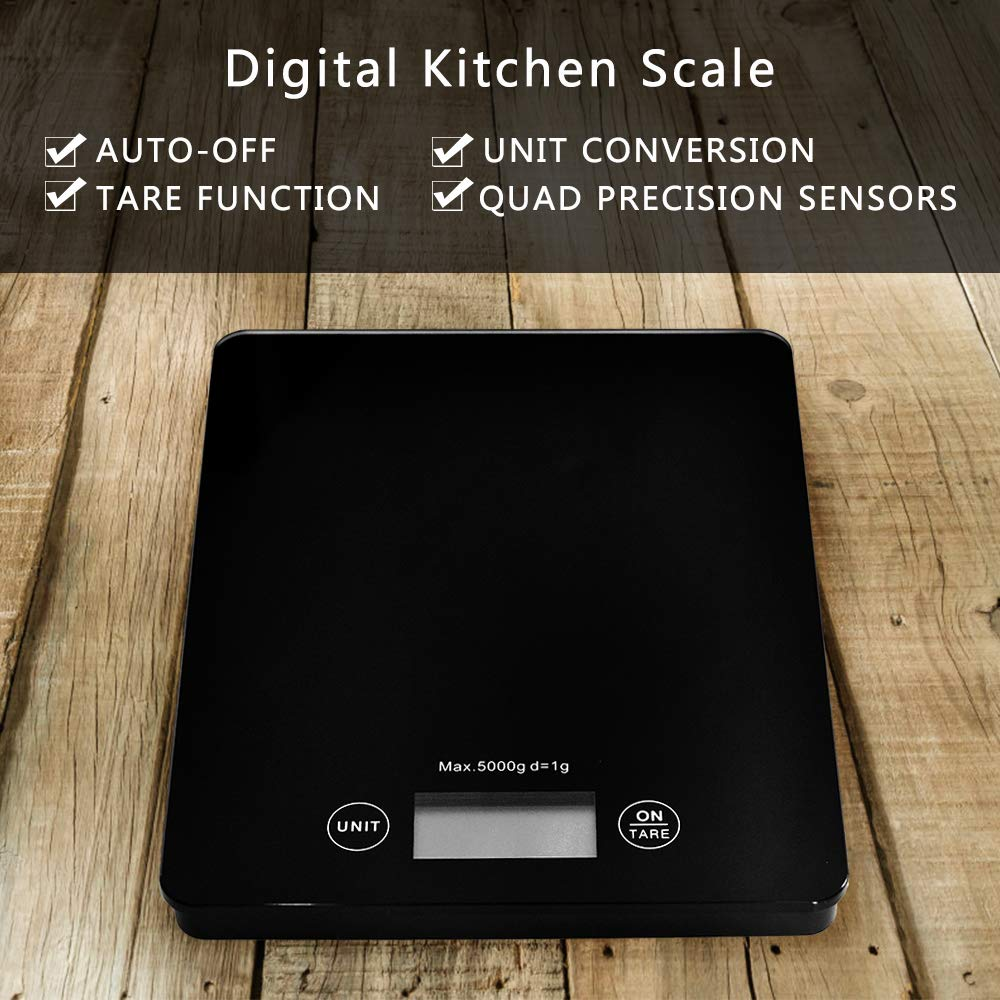 Amazon.com: WEELAND 11lb/5kg Digital Kitchen Scale Food Scale Gram Electronic Scale Kitchen Weighing Scale Baking and Cooking Scale (Black): Kitchen & ...