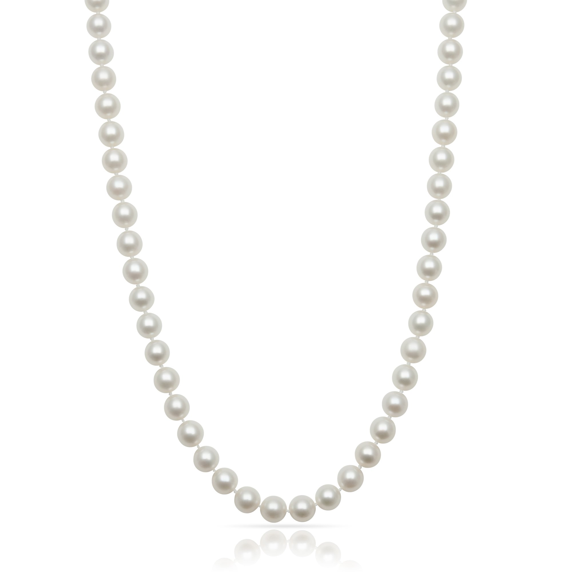 Sterling Silver AA Quality 7.0-8.0mm White Cultured Freshwater Pearl Strand Necklace,20''