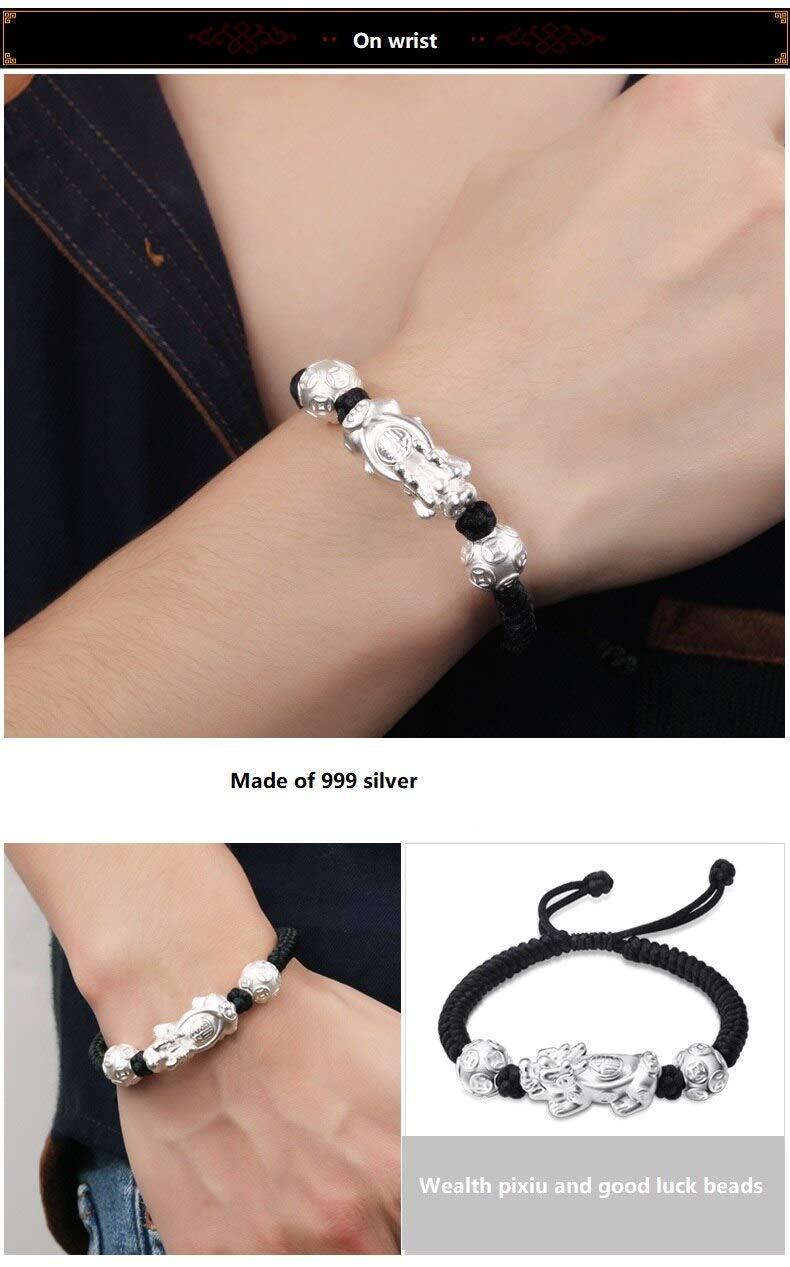 ALISETHEL Good Luck Bracelet Handmade 999 Silver Wealth Pixiu Bracelet 3D Pure Silver Wealth Pixiu Braided Bracelet Good Luck Bracelets for Lovers