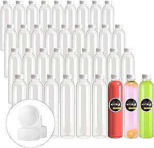 16 OZ Empty Plastic Juice Bottles Pack of 30 Clear Disposable Bulk Drink Bottles with White Tamper Evident Caps Lids (16 OZ, White)