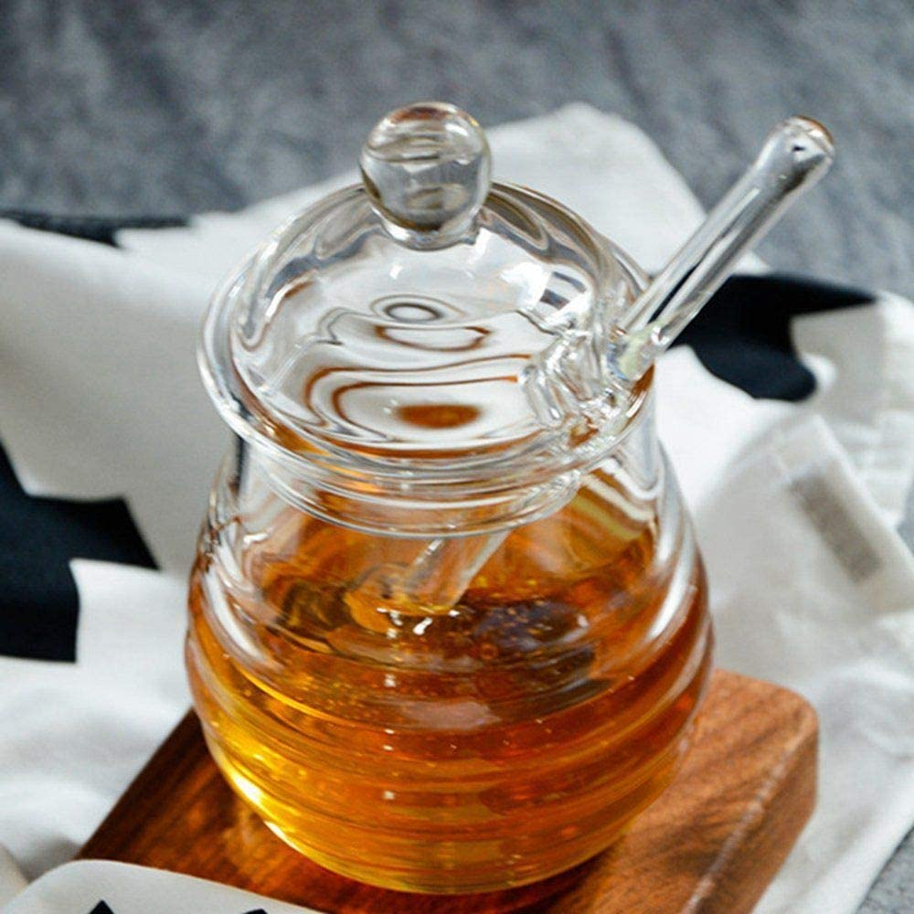 9 Ounces Clear RETYLY Transparent glass honey jar with lid Honey Jar with Dipper