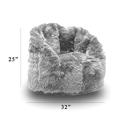 Brilliant Amazon Com Grey Fluffy Bean Bag Filled With Ultimax Beans Andrewgaddart Wooden Chair Designs For Living Room Andrewgaddartcom