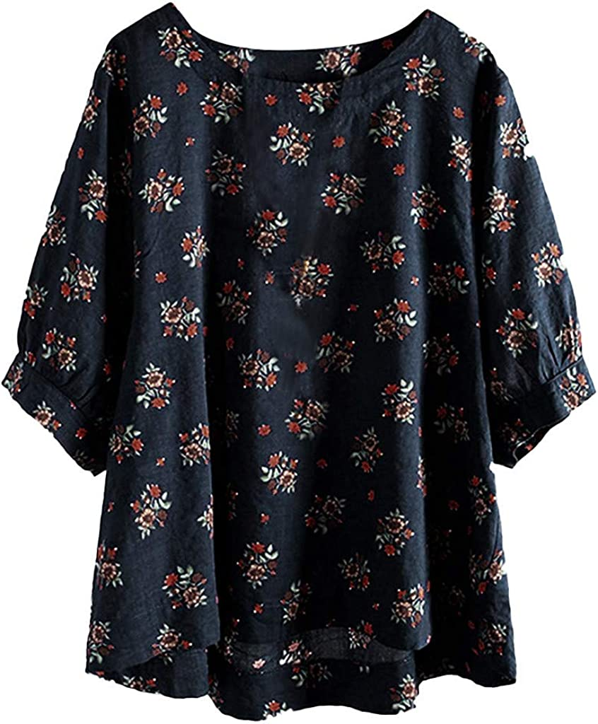 LONGDAY Women Plus Size Half Sleeve Cotton Linen Hollow Out Lace Patchwork Blouse Tops Bell Sleeve Oversized T-Shirt
