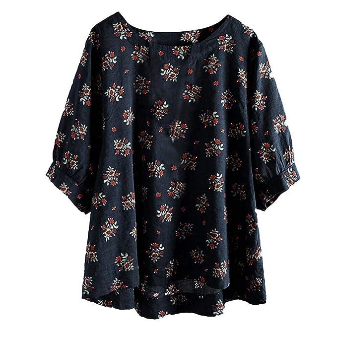 7c683d70ad6abb AOJIAN Blouse Women Half Sleeve T Shirt Vintage Cotton Linen Plus Size Boho  Tees Tank Shirts