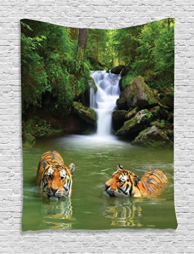 Ambesonne Tiger Tapestry Safari Decor by, Siberian Tigers in Water Waterfall Pool Woodland Swimming Asian Natural Theme Image, Bedroom Living Room Dorm Wall Hanging Tapestry Tiger, Green Peru White