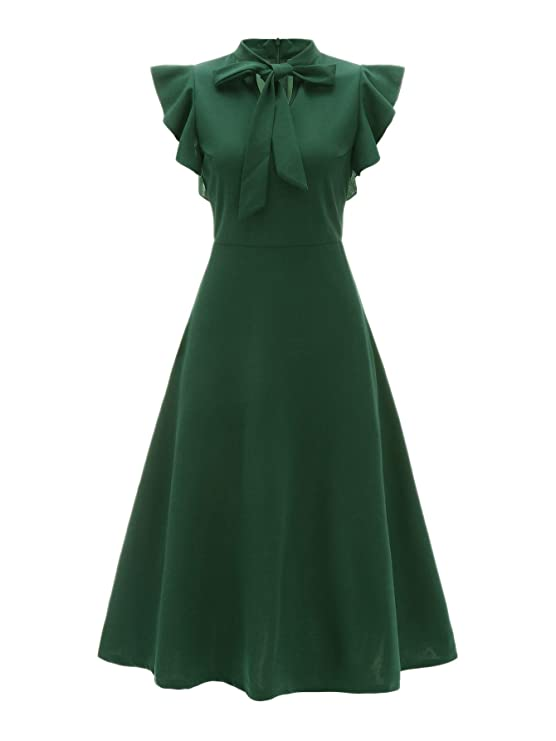 500 Vintage Style Dresses for Sale | Vintage Inspired Dresses Verdusa Womens Elegant Ruffle Trim Tie Neck Flutter Sleeve A-Line Dress $24.99 AT vintagedancer.com