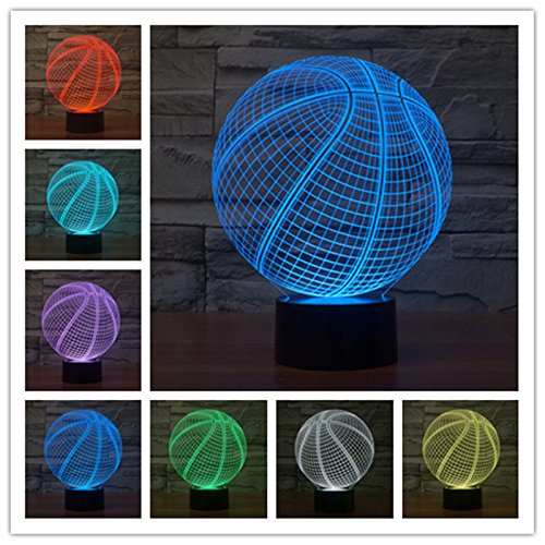 YANGHX 3D illusion Lamp Sport Basketball Modern led touch lamp Desk light (Color Multicolor)