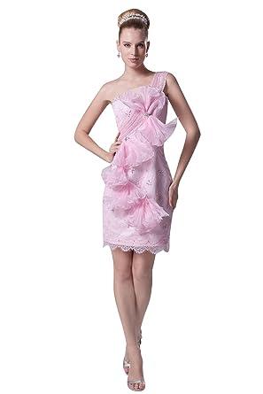 Graceful Girls Beading One Shoulder Flower Short Designer Prom Dresses 4292 26W Pink