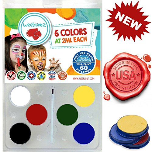 Face Painting Kit For Any Event by Weebumz (Paint 60 Full Faces) Includes 6 Safe, Vibrant, Most Popular Colors & 1 Brush - Great Holiday Gift Makeup Set, Non-Toxic Palette + Bonus (Halloween Face Paint Ideas For Adults)