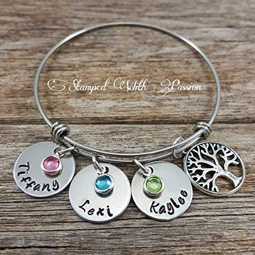 Mom bangle bracelet - Personalized birthstone name charm family tree bracelet - Hand stamped Jewelry -Christmas Gift - Grandma bracelet - Stainless steel bracelet - Mothers day gift]()