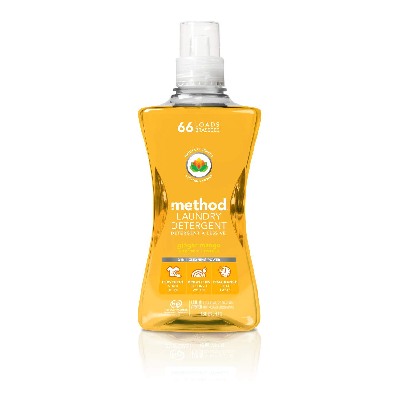 Method Concentrated Laundry Detergent, Ginger Mango, 53.5 Fluid Ounce, 66 Loads (4 Count)