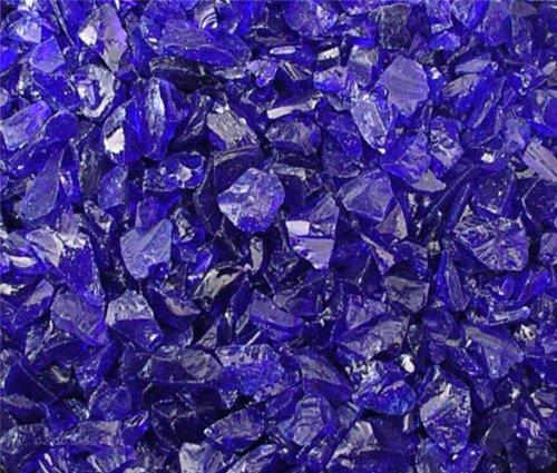 Fire Pit Glass Rocks, ~3/8-1/2'' COBALT BLUE, 40 LBS by Fireplace Glass San Diego