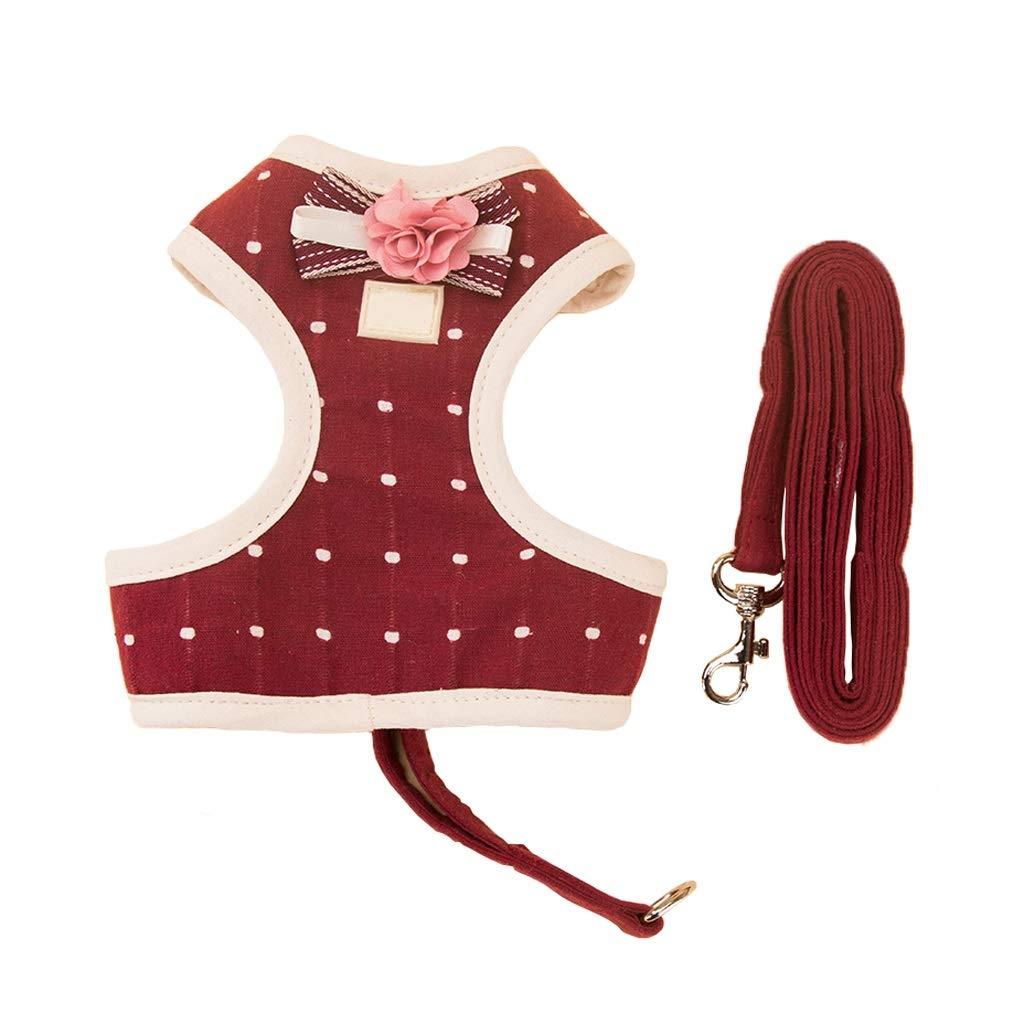 S Retractable Pet Belt Glossy Polka Dot Bow Dog Belt Pet Leash Chest Strap (Size   S)