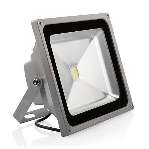 topnew 50 W super Hell 230 V IP65 resistente al agua gris blanco cálido LED foco exterior Foco [Clase energética A +]