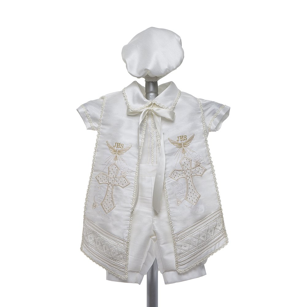 Baptism Outfit For Boy, 4 Piece Christening Set, Blessing Outfit, Traje de Bautizo, Baby Outfit Baptism Gown Wht) RUS 905