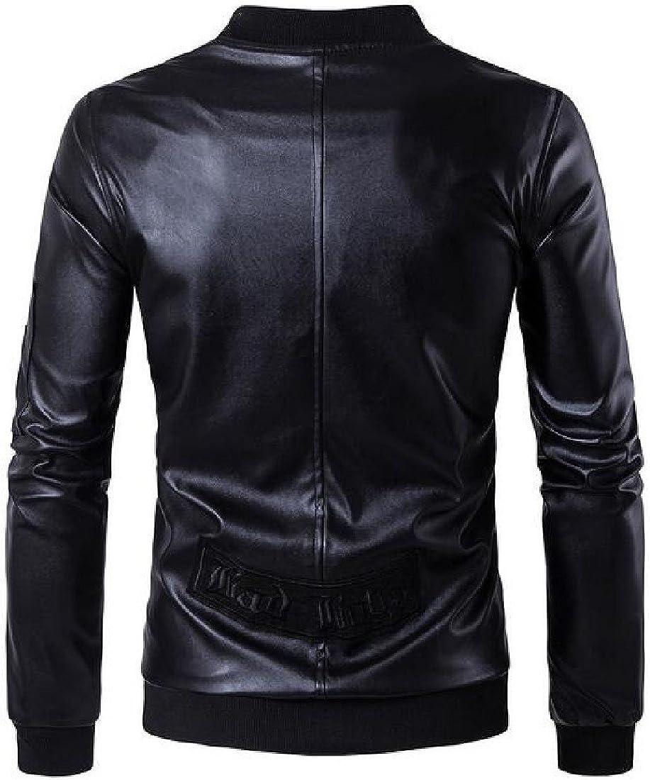 SportsX Men Zipper Faux Leather Punk Rock Slim Fit Bomber Jacket Outerwear