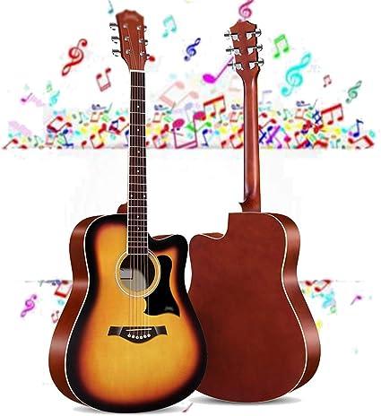 Guitarra Acústica Tamaño completo Guitarra clásica Guitarra para adultos Kit para principiantes con Funda, instrumentos de cuerda, picos, Correa, Set ...