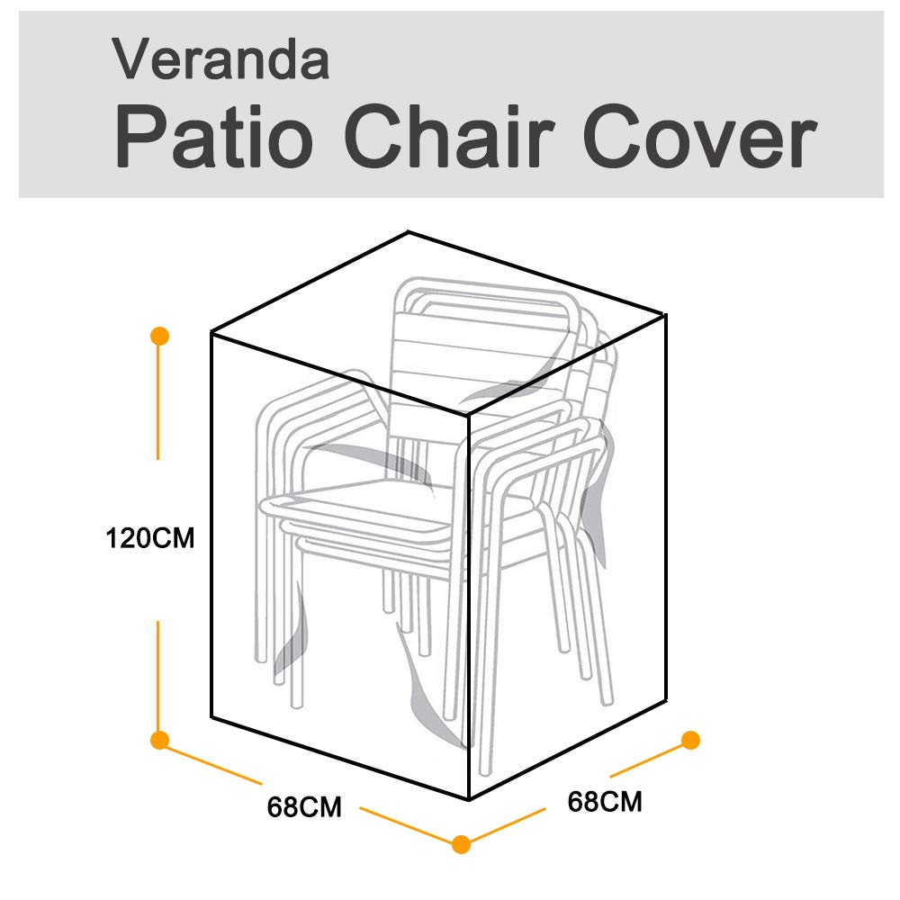 feifei Waterproof Patio Chair Covers, Premium Outdoor Stairs Cover Stackable Chairs Cover (2 Pack)