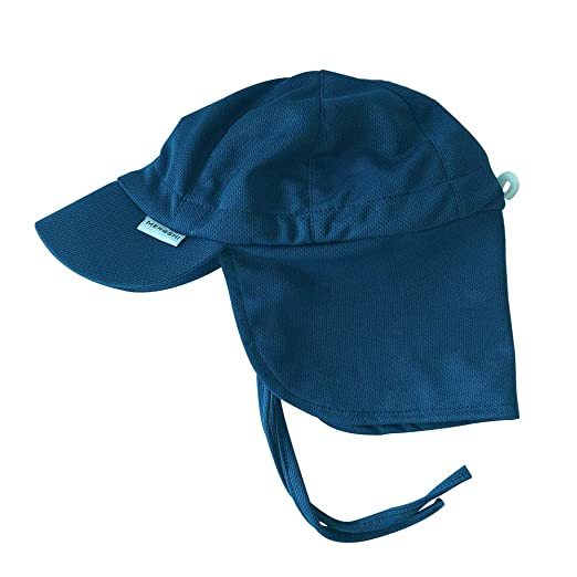 e728cf66cf8e9 MENGSHI Baby Sun Protection Hat Breathable Swim Cap Navy Blue Flap Hat for  Toddler