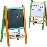 Wondertoys Kids Standing Art Easel Board with Blackboard and Chalkboard Magnetic Alphabet Educational Toys for Children