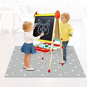 Avikoit Washable Table Cloch, Anti- Slip Splat Mat for Child Under High Chair Arts Crafts, Waterproof Spill Mats, Floor Protector Splash Mat, Children Messy Mat for Outdoor Picnic (Star)