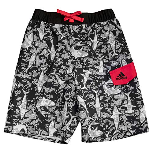 adidas Boys Swim Trunks Boardshorts (Small, Black White Sharks) ()