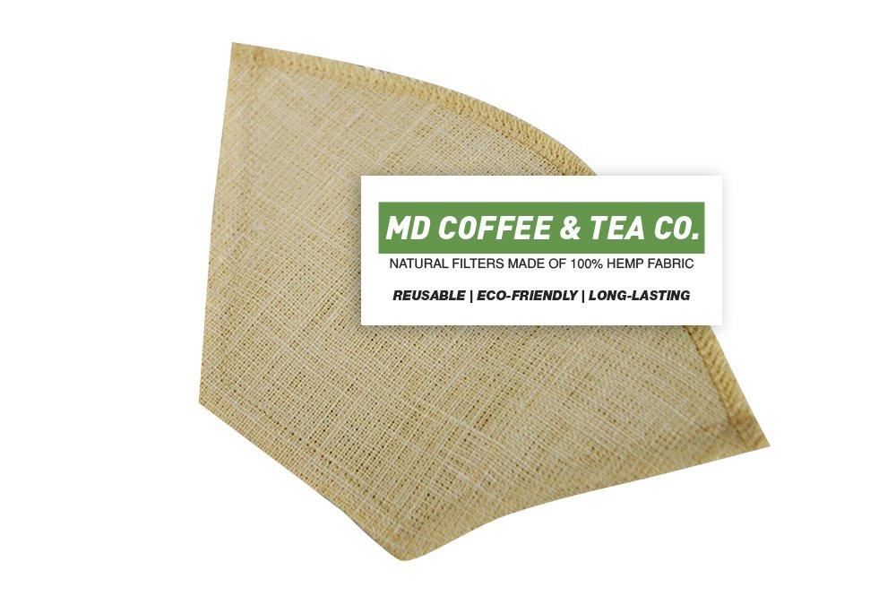 Hemp Coffee Filter 4, Reusable Coffee Filter, Saves Money, Taste Better & Reduces Waste – All Natural Organic Coffee Filters, Pour Over Coffee Filter, Unbleached Dripper Filter